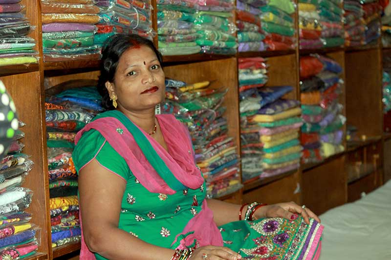 Babita Das, 35, lives in Baneshwor and owns a garment store at Ason.